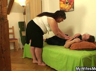 She leaves and plump mother-in-law fucks him