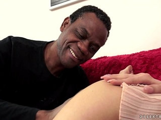 Young babe Monique Woods fucks an old black dick