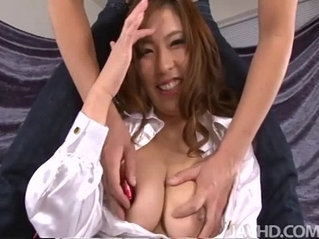Big titty babe Ami Kurosawa has her perfect tits squeezed and played with
